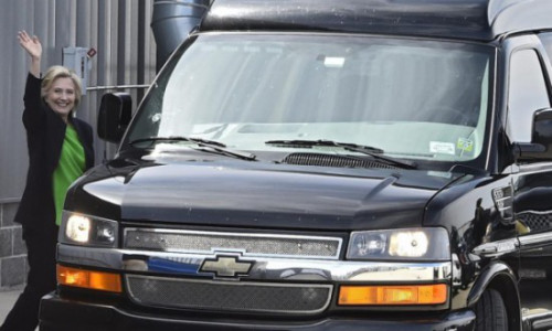 Hillary-Clinton-Boarding-Chevrolet-Scooby-Van-In-New-York