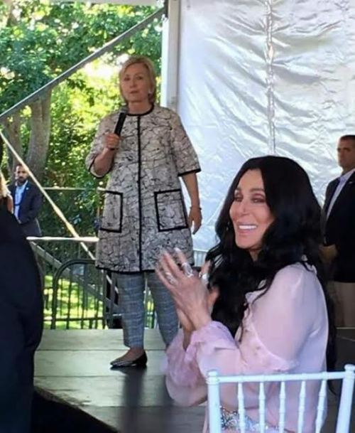 Hillary in hospital gown for Hollywood fundraiser
